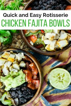 Rotisserie Chicken Fajita Bowls with Cilantro Lime Quinoa - Slender Kitchen. Works for Clean Eating, Gluten Free and Weight Watchers® diets. 417 Calories.