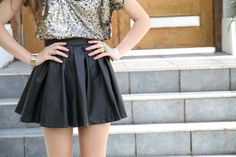 sequin top+black leather skirt.