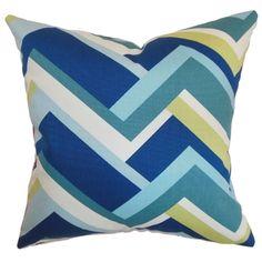 Hoonah Aqua Geometric Down Filled Throw Pillow