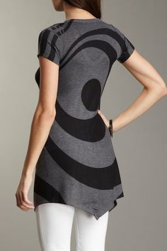 Printed Scoop Neck Tunic Tee by Go Couture on @HauteLook