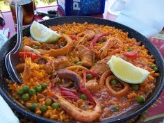 Spanish Paella at a beach side restaurant in Malaga , Spain