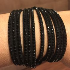 Leather bracelet with rhinestones multilayered Black rhinestones multilayer leather bracelet NEW IN PACKAGE Jewelry Bracelets