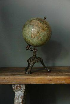 Love this antique globe, the cast iron fixture is unusual. Vintage Globe, Vintage Maps, Antique Maps, Vintage Items, Antique Decor, Antique Furniture, Vintage Antiques, Map Globe, Globe Art