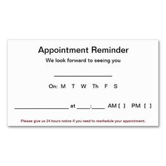 Appointment Reminder Cards 100 Pack White Zazzle Com Card Templates Free Pink Business Card Personalized Greeting Cards