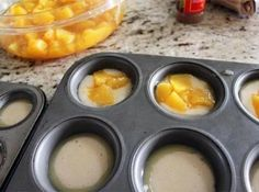 Mini Peach Cobbler Recipe - uses canned peaches and a muffin pan