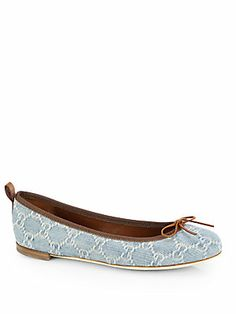 I usually don't do logos, but I love denim!!!  Gucci Ali GG Denim Ballet Flats $545
