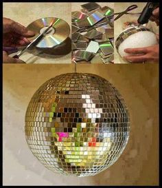 Easy Old CD Projects Ideas DIY For Home Decoration. DIY old cd crafts ideas tutorial with steps of making cd clock, cd lamps and candle stand Disco Party, 80s Party, Neon Party, Disco Theme, Sofia Party, Sleepover Party, Deco Disco, Diy Luminaire, Silvester Party
