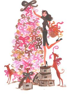 #izakzenou #fashionillustration #illustration #watercolor #indiaink #trafficnyc #artistprints  #fashionista contact info@traffic-nyc.com #merrychristmas #holidaytree #holidaydecorations #henribendel #hatboxes #greyhound