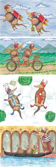 Armadillo Character Designs, Illustrations, Chickpeas, Bikes, Snow, Winter, Gondolas, Jetpacks, Watercolor | Torie Partridge: Cherry Blossom Creative