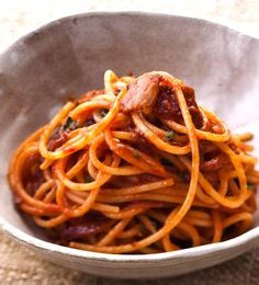 Bucatini recipe from Mario Batali. So easy and sooo good. Pancetta, onion, tomato paste, red pepper flakes and parsley. #recipe #pasta #food