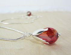 Spring flower ROSEBUD Gorgeous red crystal with by aGiftofLaughter