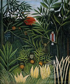 Monkeys and Parrot in the Virgin Forest (Singes et perroquet dans la forêt vierge) by Henri Rousseau, Barnes Foundation Medium: Oil on canvas Barnes Foundation (Philadelphia), Collection Gallery, Room North Wall National Gallery Of Art, Art Gallery, Cleveland Museum Of Art, Art Institute Of Chicago, Barnes Foundation, Art Ancien, Wildlife Paintings, Forest Art, Post Impressionism