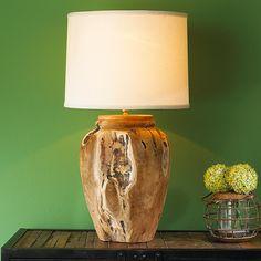 Teak Wood Urn Table Lamp