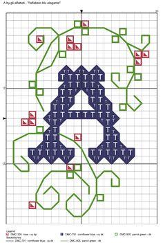 alfabeto blu elegante A
