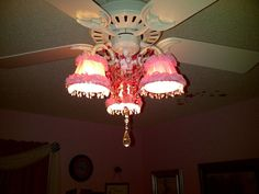 When I couldn't find a ceiling fan that was also a chandelier for my daughters room. I decided to make one. Here's how it turned out!
