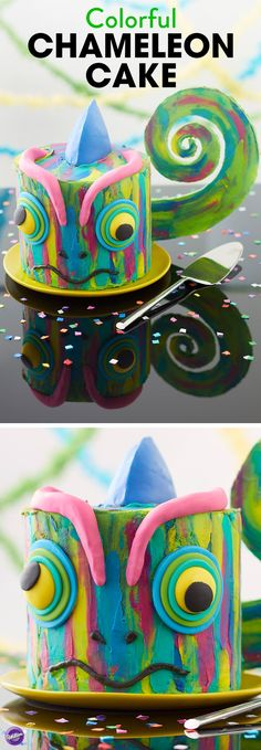 There's no blending in to the background with this cake…made to stand out and impress, this Colorful Chameleon Cake is a showstopper that kids of all ages will love. Great for jungle-themed parties or for kids who just love to show their true colors, this cake is all the inspiration you need to create one 'hue-ge' and colorful party! But your creativity doesn't have to stop here…mix and match your own icing colors to create a truly unique chameleon cake that's one of a kind!