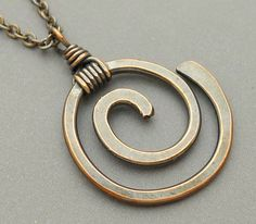 Oxidized Copper Spiral Necklace by ChainFlower on Etsy, $17.00