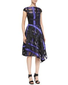 Ribbon-Plaid Draped Dress by Lela Rose at Neiman Marcus.