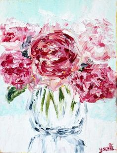 Peonies painting.  Pink flower painting. I find it fascinating how we all differ from one another yet are so similar in other ways.. For me it's always quality over quantity. For others it's the exact opposite! I'd rather have a limited amount of things, knowing that they are invested into, with my time, energy and carry special sentiment. That's me. (For better or for worse;)) & these peonies right here, seem to understand me, looking so fine in their glass vase