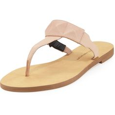 Rebecca Minkoff Eloise Studded Leather Thong Sandal ($58) ❤ liked on Polyvore featuring shoes, sandals, nude, nude sandals, toe thong sandals, flat footwear, rebecca minkoff shoes and rebecca minkoff