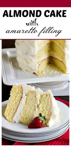 Cake with Amaretto Filling Almond Cake with Amaretto Filling. This cake makes a wonderful wedding or special occasion cake!Almond Cake with Amaretto Filling. This cake makes a wonderful wedding or special occasion cake! Just Desserts, Delicious Desserts, Dessert Recipes, Desserts Caramel, Picnic Recipes, Health Desserts, Amaretto Cake, Wedding Cake Flavors, Wedding Cakes