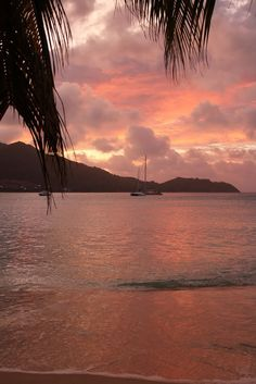 Sunset Over Cousin And Cousine Islands Seychelles Seychelles - Seychelles interactive map