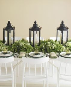 White, green and black table decor // Photo: Philip Ficks