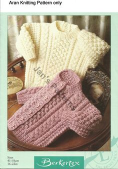 Babies Childs Aran sweater and cardigan by knittingpatterns4you, £2.00 Babies cardigan and sweater knitted in Aran yarn to fit size 16 to 22 inch chest [41 to 56 cms]. Tension 20 stitches and 28 rows to 10 cm on 4.5 mm needles in broken rib pattern.