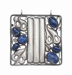 Eduard Josef Wimmer-Wisgrill (1882-1961). Pendant, c. 1910, made by Wiener Werkstätte, silver, lapis lazuli, converted from brooch, with later silver chain; 2 in. (5 cm.) square, 13 in. (33 cm.) drop  stamped with rose trademark, designer's monogram and executing silvermith's Karl Ponocy's monogram.