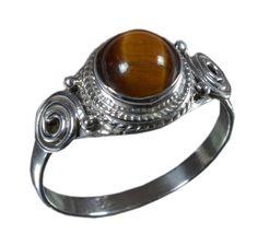925 Solid Sterling Silver Ring Natural Tiger's Gemstone US Size 5.5 JSR-845 #JaipurSilver