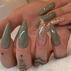 Mud Green with Gold Glitter Ombre on long Almond Nails Nail Artist: sinna Long Almond Nails, Almond Acrylic Nails, Fall Acrylic Nails, Almond Nail Art, Fall Nails, Perfect Nails, Gorgeous Nails, Stylish Nails, Trendy Nails