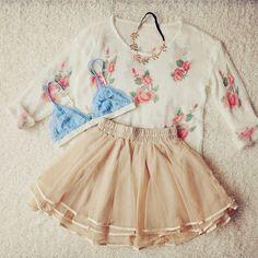 Apricot Elastic Waist Cascading Ruffle Lace Skirt #ladies