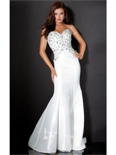 White Mermaid Floor-length Sweetheart Dress
