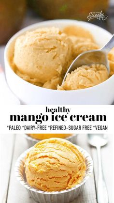 This Mango Ice Cream is deliciously creamy and can be made with or without an ice cream maker with fresh mango and coconut cream. Healthy ice cream better for your than any store-bought ice cream and makes the perfect frozen treat for summer. Vegan, paleo-friendly and dairy-free. Easy Gluten Free Desserts, Easy Desserts, Delicious Desserts, Yummy Food, Strawberry Desserts, Frozen Desserts, Frozen Treats, Pavlova, Sweet Recipes
