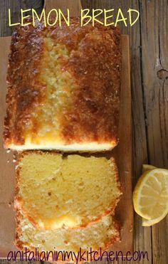 Lemon bread, a tangy delicious sweet bread dessert recipe. Perfect for every occasion /anitalianinmykitchen.com
