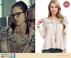 Cosima's white henley sweater with blue pattern on Orphan Black.  Outfit Details: http://wornontv.net/33854/ #OrphanBlack