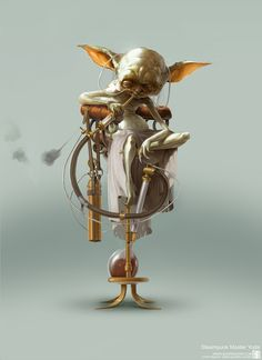 When 'Star Wars' Meets Steampunk .Illustrator Björn Hurri seamlessly merges Star Wars with steampunk to create retro-futuristic illustrations of the characters Leia, Luke, Yoda, Jabba the Hut and the likes: Steampunk Star Wars, Steampunk Kunst, Steampunk Characters, Star Wars Characters, Iconic Characters, Bioshock, Steam Punk, Cyberpunk, Starwars