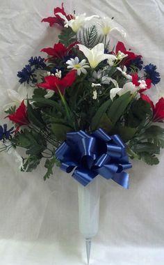 Patriotic Tiger Lily cemetery vase of flowers.