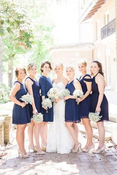 blue bridesmaids   Bee Mine Photography   Glamour & Grace