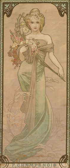 The Seasons [one of four decorative panels on silk] by Alphonse Mucha