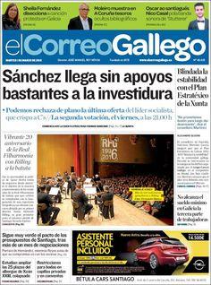 #20160301 #SANTIAGOdeCOMPOSTELA #GALICIA #España #Spain MARTES 01 MAR 2016 #ELCorreoGallegoSANTIAGO http://en.kiosko.net/es/2016-03-01/np/correo_gallego.html