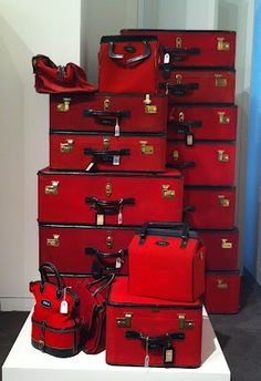 Brooke Astor& vintage luggage at Sothebys simplyred Josie Loves, The Rouge, I See Red, Simply Red, Vintage Luggage, Vintage Suitcases, Red Aesthetic, Luggage Sets, Shades Of Red