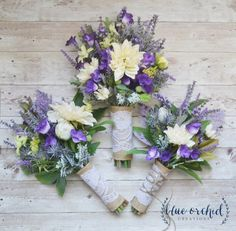 This wildflower bouquet is full of lavender, purple wildflowers, purple thistles, greenery and ivory/cream dahlias. Absolutely perfect for a rustic or boho wedding. Pictured is the medium size, bridal bouquet, the medium size bridesmaid bouquet, and the toss bouquet. Shown wrapped