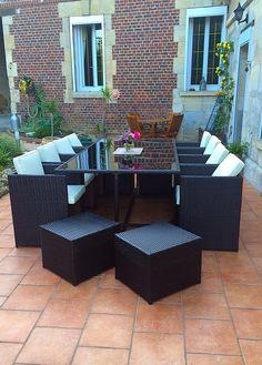 Bologna : salon de jardin encastrable en résine tressée 4 places ...