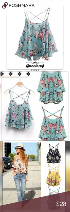 Beautiful Ruffle Babydoll Camisole Top Beautiful Summer Top V neck With spaghetti straps Floral Design Made with Chiffon Material (PLEASE SEE SIZE CHART FOR SIZING) @roedarryl Shirts & Tops Camisoles