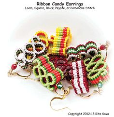 Ribbon Candy Earrings Beading Tutorial by Rita Sova at Sova-Enterprises.com