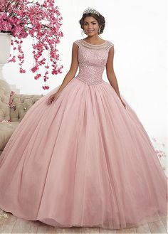 Magbridal Alluring Tulle Jewel Neckline Cap Sleeves Ball Gown Quinceanera Dress With Beadings Cotillion Dresses, Quince Dresses, Ball Gown Dresses, 15 Dresses, Dresses Online, Evening Dresses, Bridesmaid Dresses, Wedding Dresses, Fashion Dresses