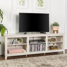 70 Wood Media TV Stand Storage Console - White Wash - Saracina Home Tv Stand Set, Tv Stand With Storage, Long Tv Stand, Simple Tv Stand, Living Room Tv, Living Room Furniture, Kitchen Furniture, Tv Stand For Bedroom, Tv Stand Ideas For Living Room