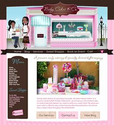 This event planning and catering website design features custom character illustration of the lovely and talented Baby Cakes and Co founders, Kamica and Sybil. They envisioned a feminine retro/vintage boutique for their business and we did just that. All artwork is one of a kind and we even added a radio for customers to listen to while they browse. http://babycakesandcompany.com/
