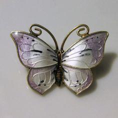 Vintage Sterling Enamel Norway Butterfly Brooch Lavender Theo. Olsens Eftf